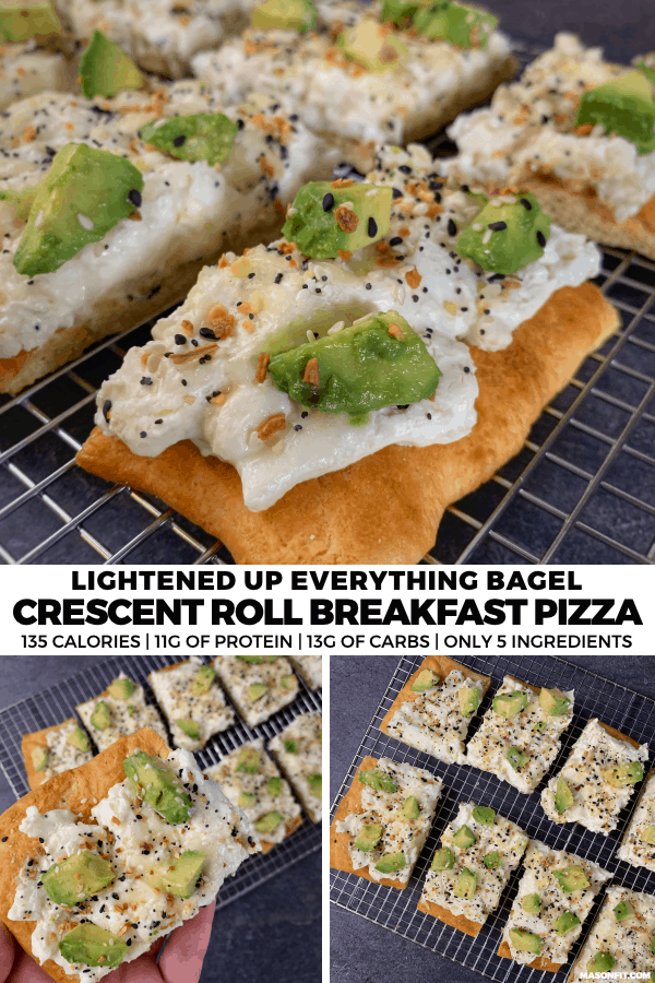 Whether you need a breakfast for meal prep or a recipe to feed the whole family, this everything bagel crescent roll breakfast pizza will do the trick. With 11 grams of protein and just 135 calories per slice, you can have your pizza and eat it, too.