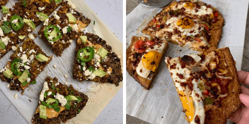 black bean pizza crust and pumpkin pizza crust for breakfast pizza