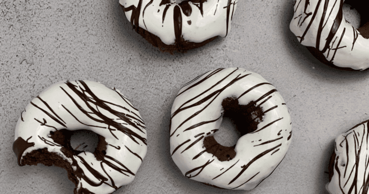 high protein hot chocolate baked donuts featured image