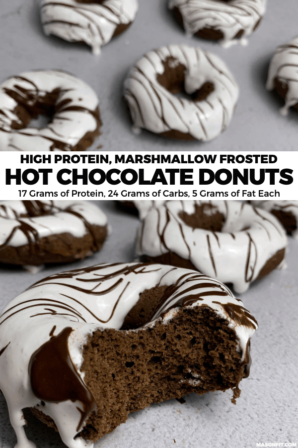 You'll love these HUGE hot chocolate baked donuts that are covered with marshmallow creme and loaded with protein. The recipe is as easy as mixing and pouring into a donut mold, and it's highly customizable for different dietary needs.