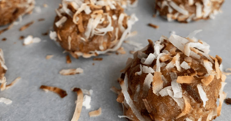 toasted coconut cookie butter no bake protein balls recipe featured image