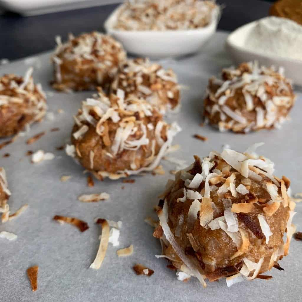 toasted coconut cookie butter no bake protein balls recipe