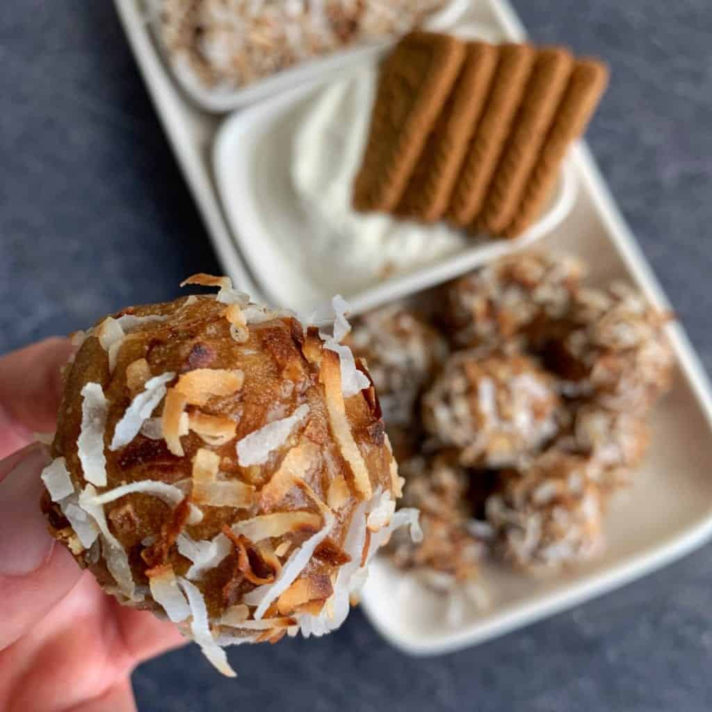 toasted coconut cookie butter no bake protein balls recipe 2