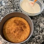 protein cheesecake crust after baking and the cheesecake mixture in a bowl