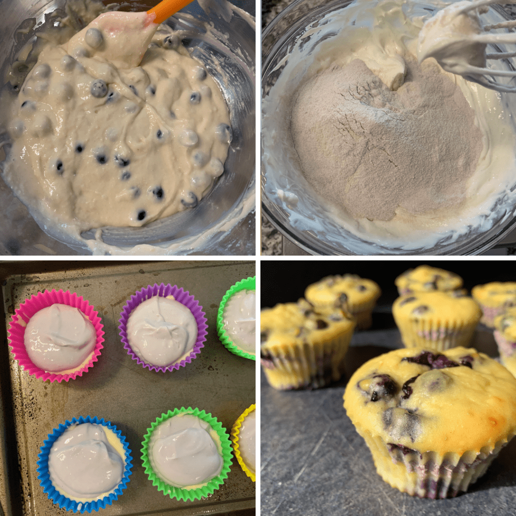 4 photos of the process of making blueberry cheesecake muffins