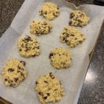 banana breakfast cookies on a baking sheet with parchment paper before baking