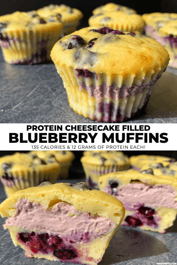 two images of blueberry cheesecake muffins with one cut in half to show the cream cheese filling and title text on a center banner