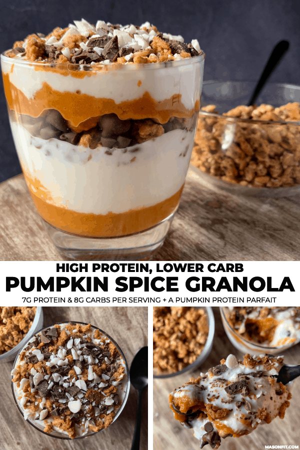 three photos of a pumpkin spice parfait in a glass with pumpkin spice granola in the back ground and a white banner with title text