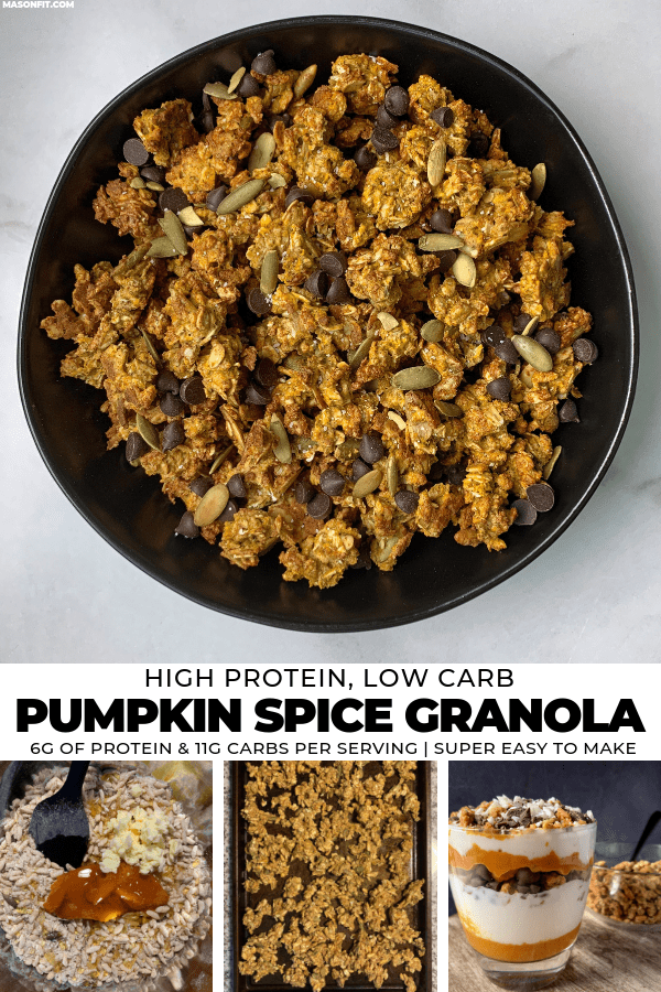A simple recipe for pumpkin spice granola that's much lower in carbs and higher in protein. Recipe includes a pumpkin spice protein parfait that's perfect for Fall snacking!