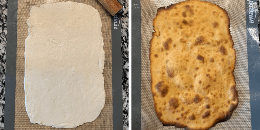 pizza crust dough rolled out before and after baking