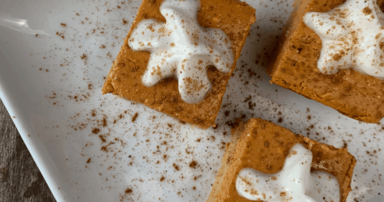 High Protein, Low Carb Pumpkin Cheesecake Bars