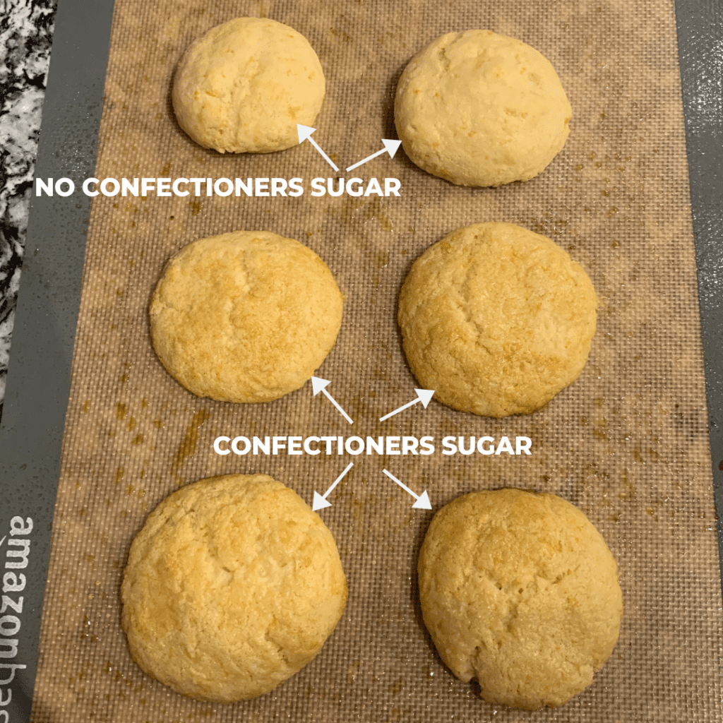 example of the lemon protein cookies with and without confectioners sugar after baking