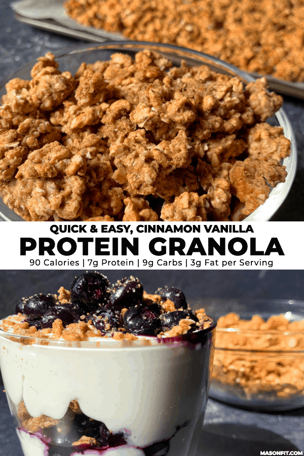 two images of protein granola and a blueberry protein parfait with title text on a white banner