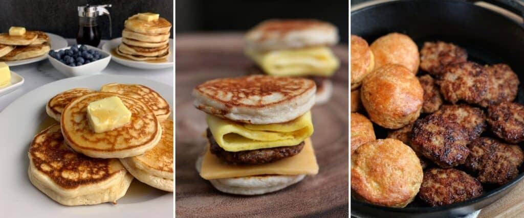 protein powder pancakes, McGriddles, and chicken sausage patties