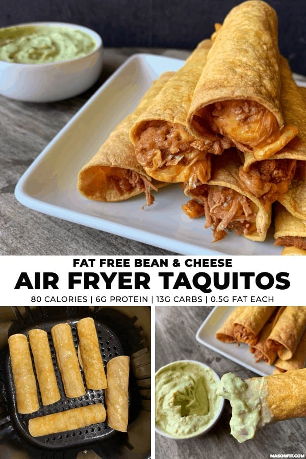 If you like simple recipes, you'll love these air fryer taquitos filled with fat free refried beans and cheese. Pairing them with a 2-ingredient, lower calorie guacamole dip makes for a perfect snack or appetizer under 100 calories (2 Smart Points each).