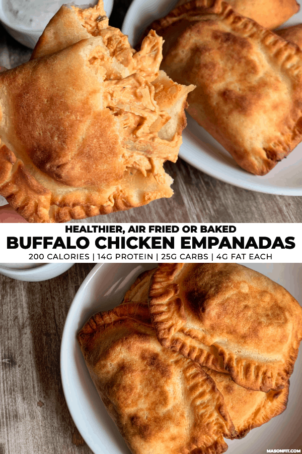 two images of buffalo chicken empanadas with title text on a white banner in the center