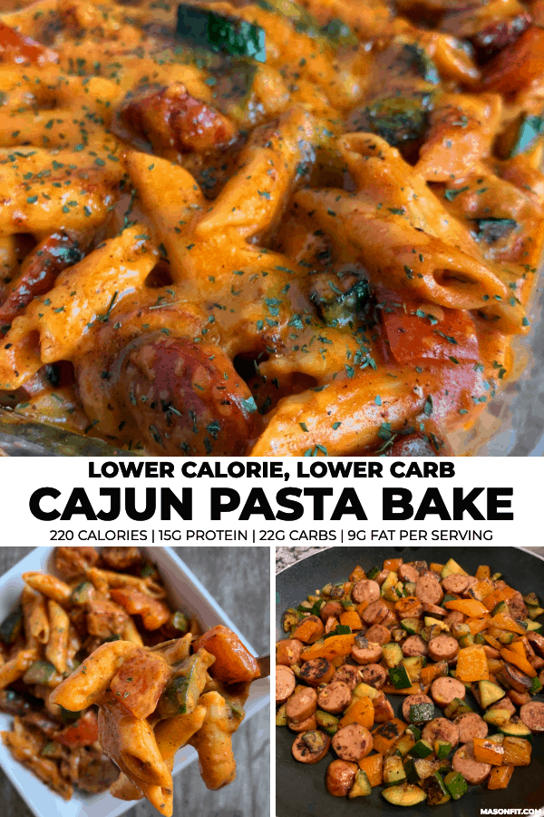 three images of cajun sausage pasta with title text on a white banner