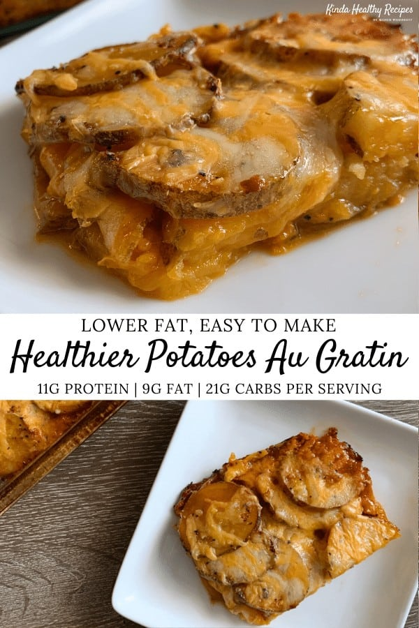 A lightened up recipe for extra cheesy potatoes au gratin with just 9 grams of fat and 200 calories per serving.