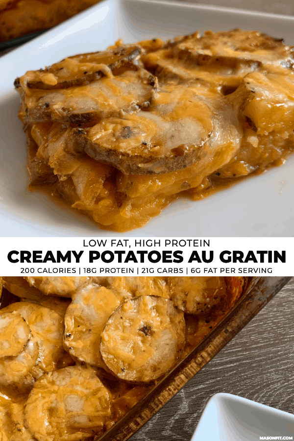 two images of healthy potatoes au gratin with title text on a white center banner