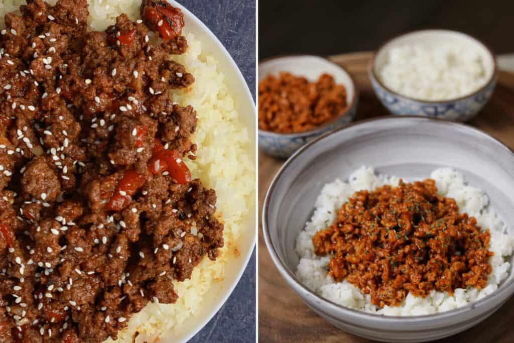 korean ground beef and spicy coconut ground chicken