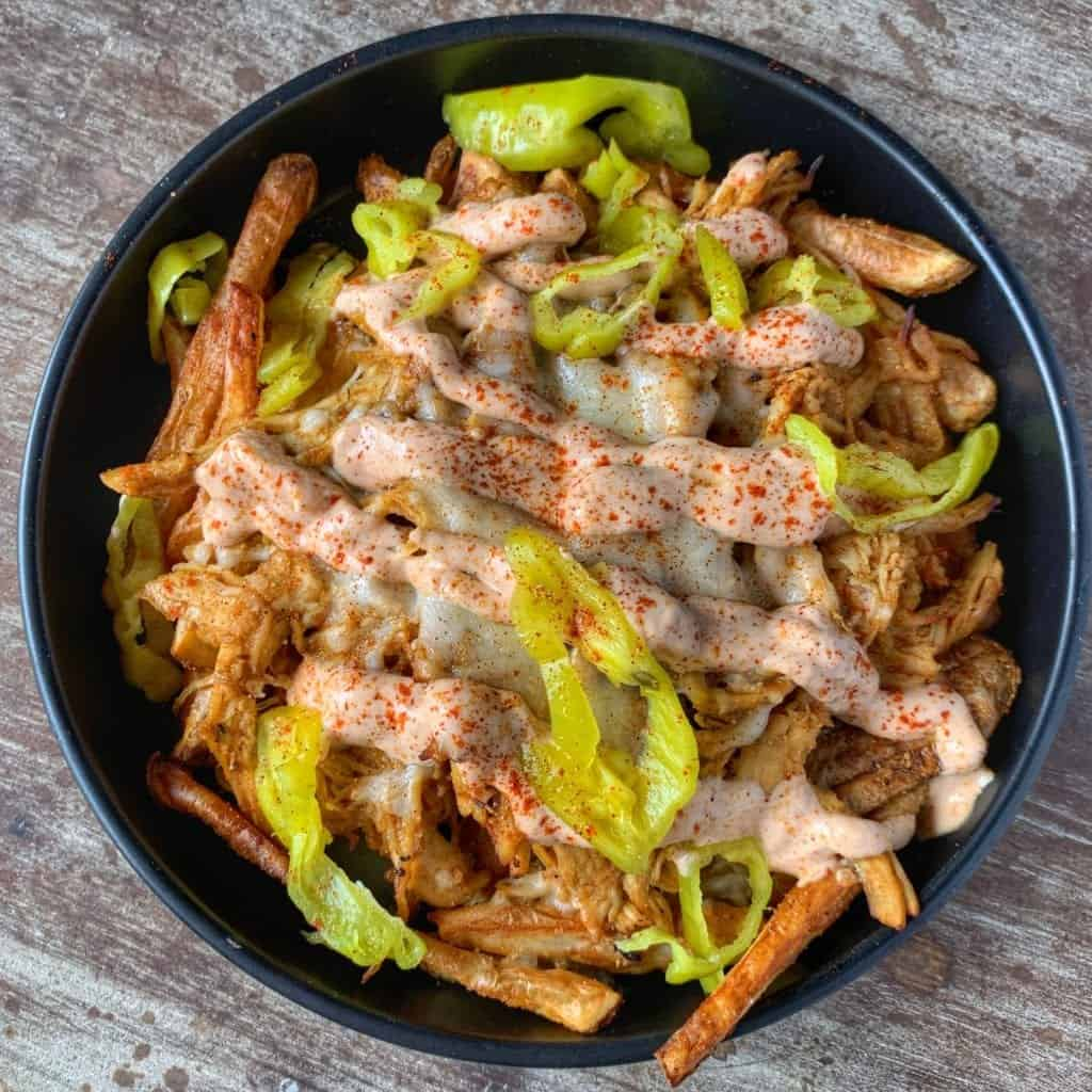 crockpot shredded chicken fries in a barrel pan