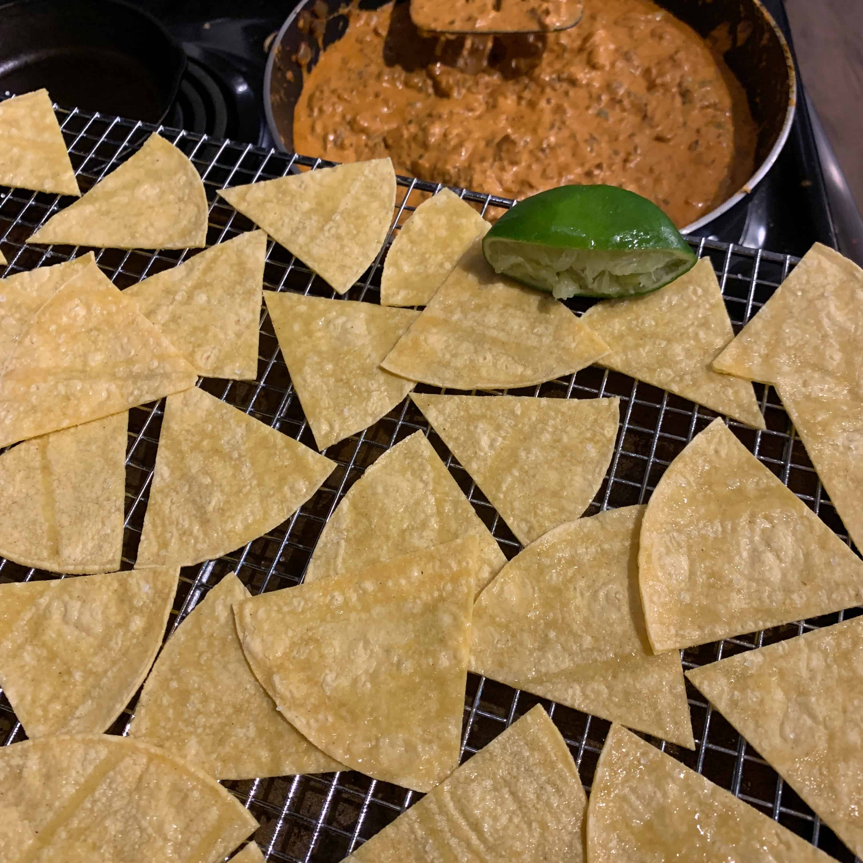 wire rack with tortilla slices