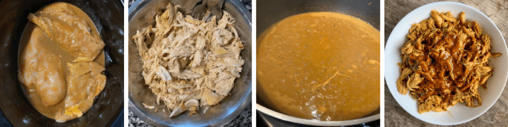 chicken in a crockpot, shredded, and topped with carolina bbq sauce