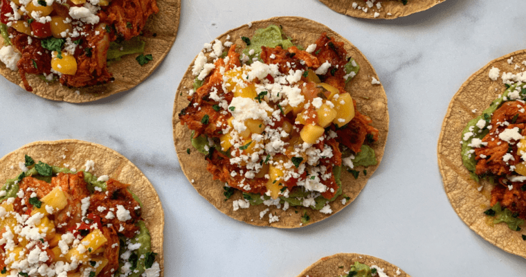 Crispy Slow Cooker Pineapple Chipotle Chicken Tostadas
