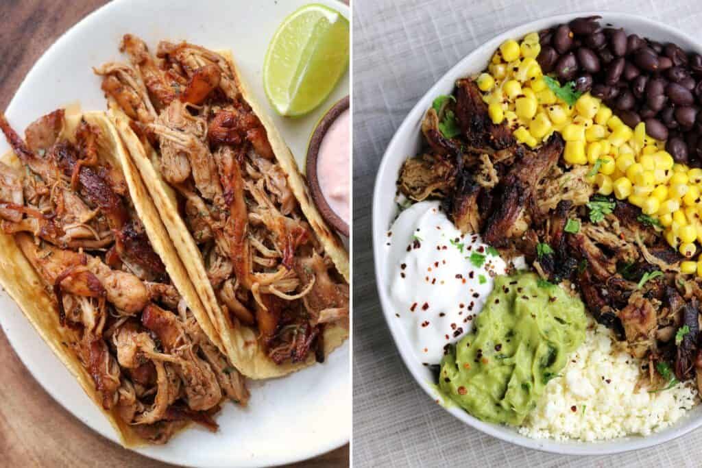 Mexican shredded chicken thighs and pork tenderloin carnitas