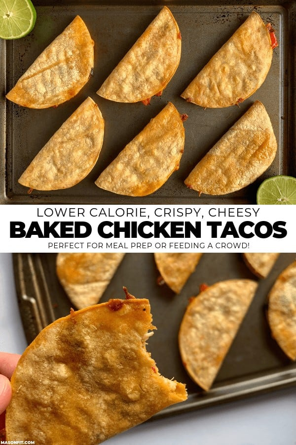 two photos of baked chicken tacos