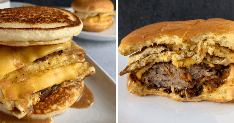 a breakfast burger on a pancake bun and a breakfast burger on a potato bun