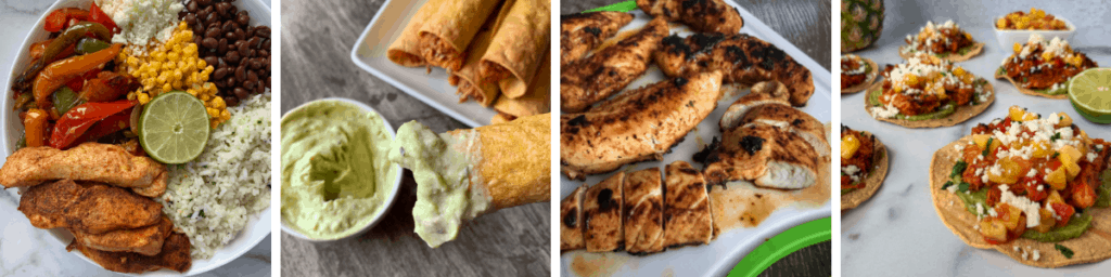 four photos of chicken recipes to put inside the baked chicken tacos