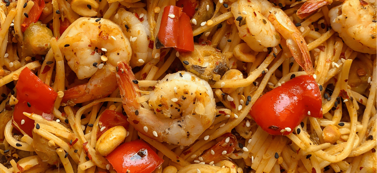 Healthy Kung Pao Shrimp and Noodles