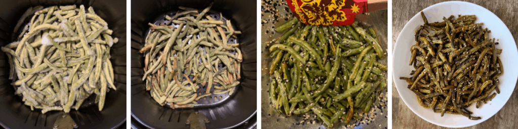 four photos of frozen green beans in the air fryer