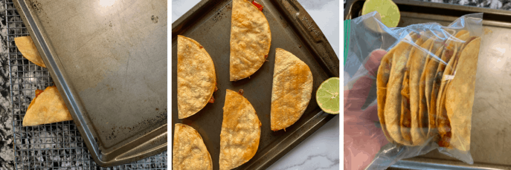 photos showing how to bake and store the chicken tacos