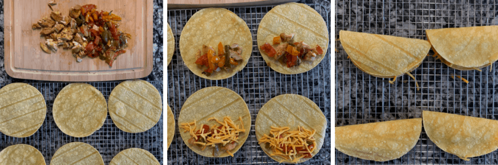 photos showing how to assemble the chicken tacos before baking