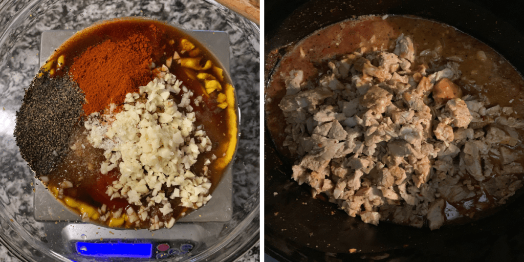 spices and sauces in a bowl beside the crockpot with cooked pork