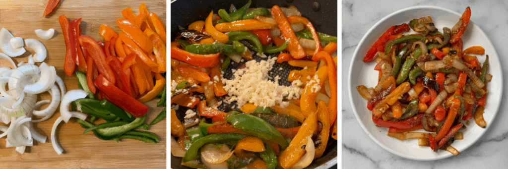 three photos of how to sauté peppers and onions
