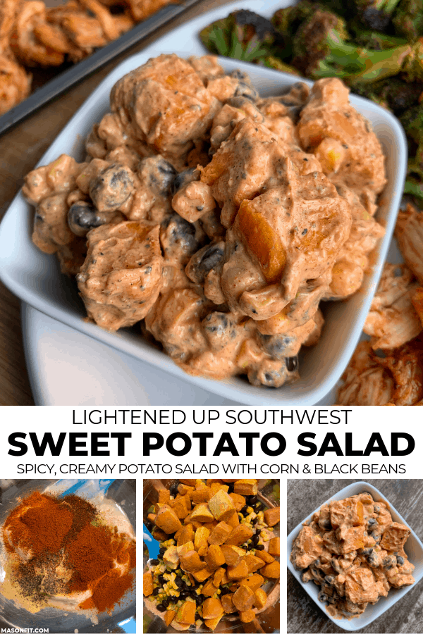 sweet potato salad in a bowl and the sauce and veggies in a mixing bowl