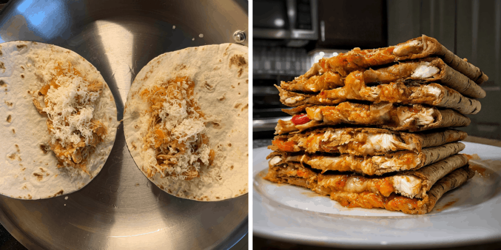 how to make buffalo chicken quesadillas