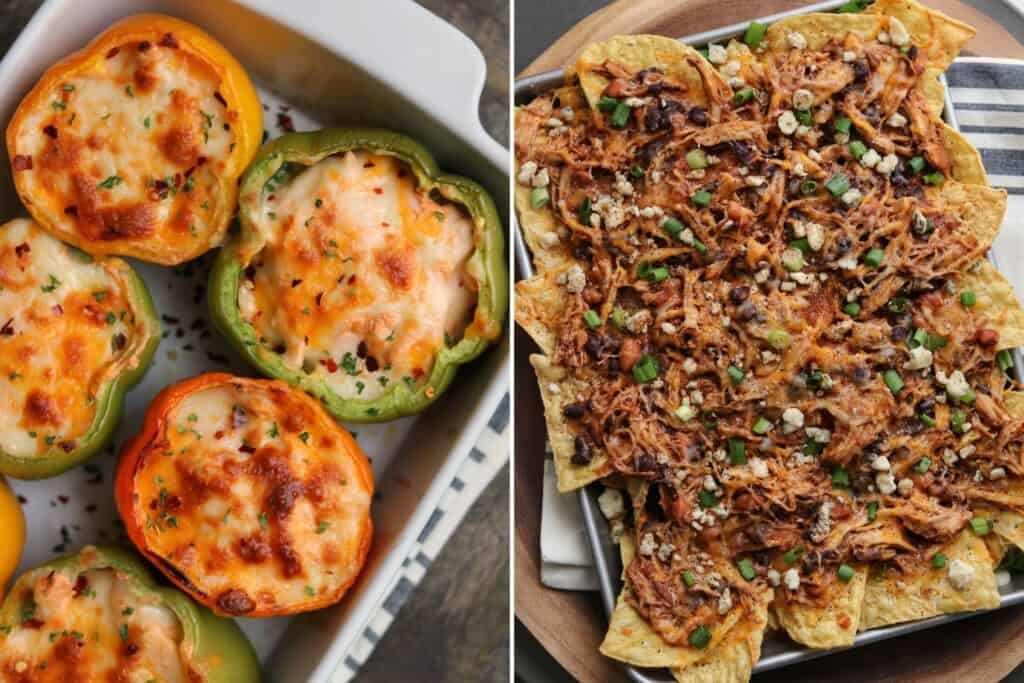 buffalo chicken stuffed peppers and buffalo chicken nachos