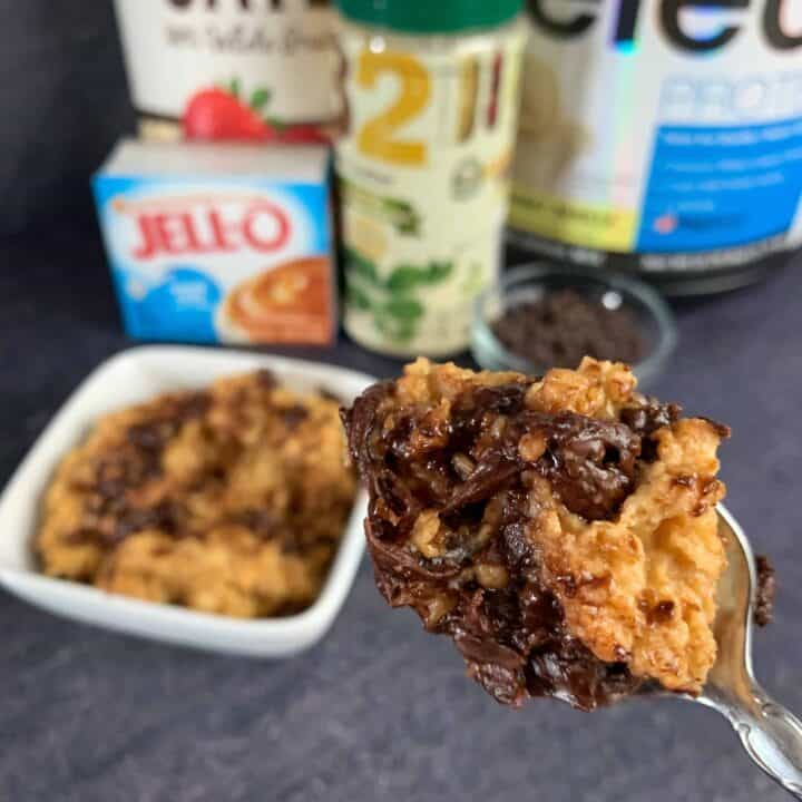 butterfinger protein oatmeal on a spoon