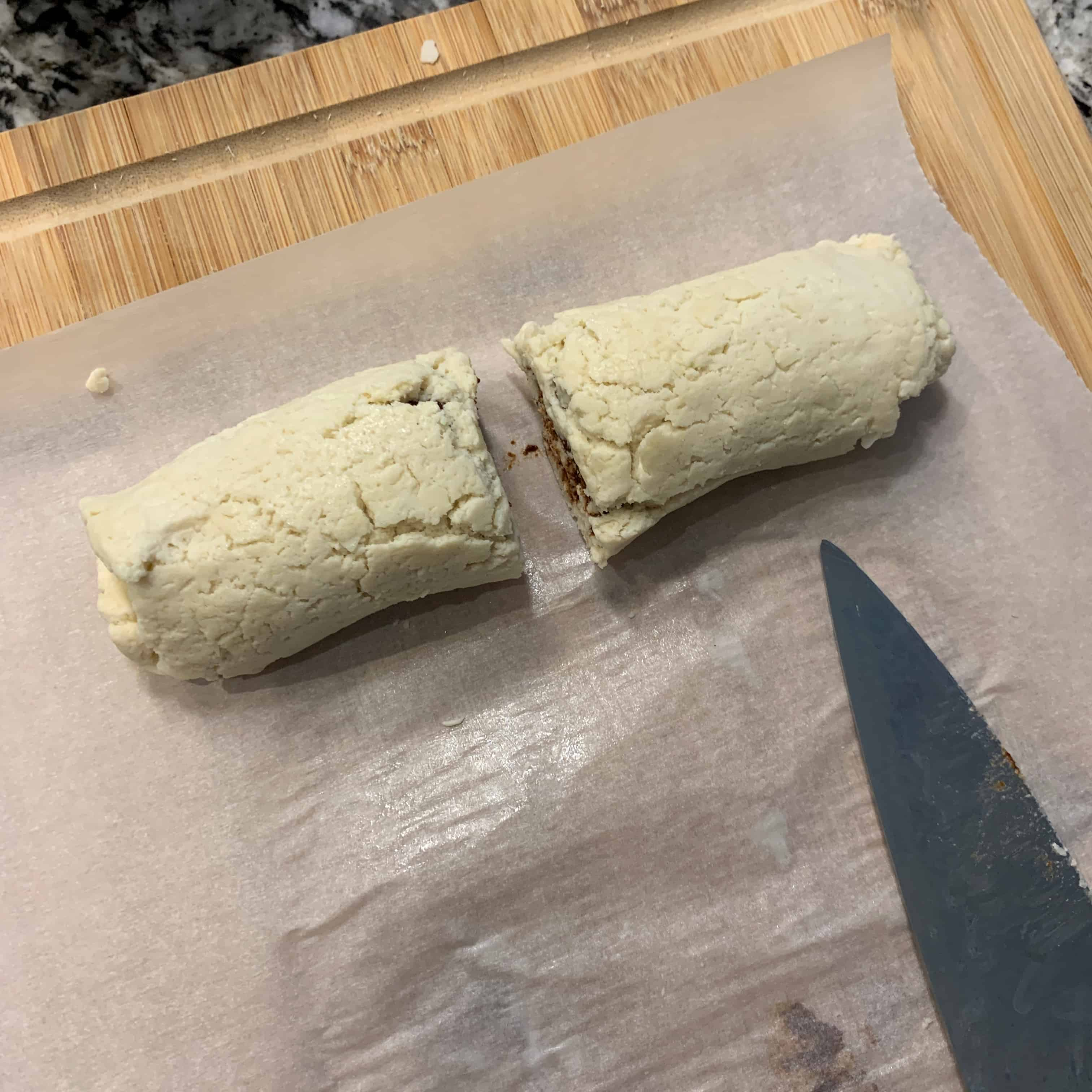 cinnamon roll in a mug dough cut in half before microwaving