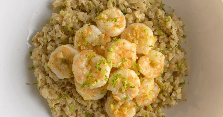 One-Pan Lime Ginger Shrimp with Coconut Cauliflower Rice