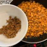 sweet potato hash browns in the skillet
