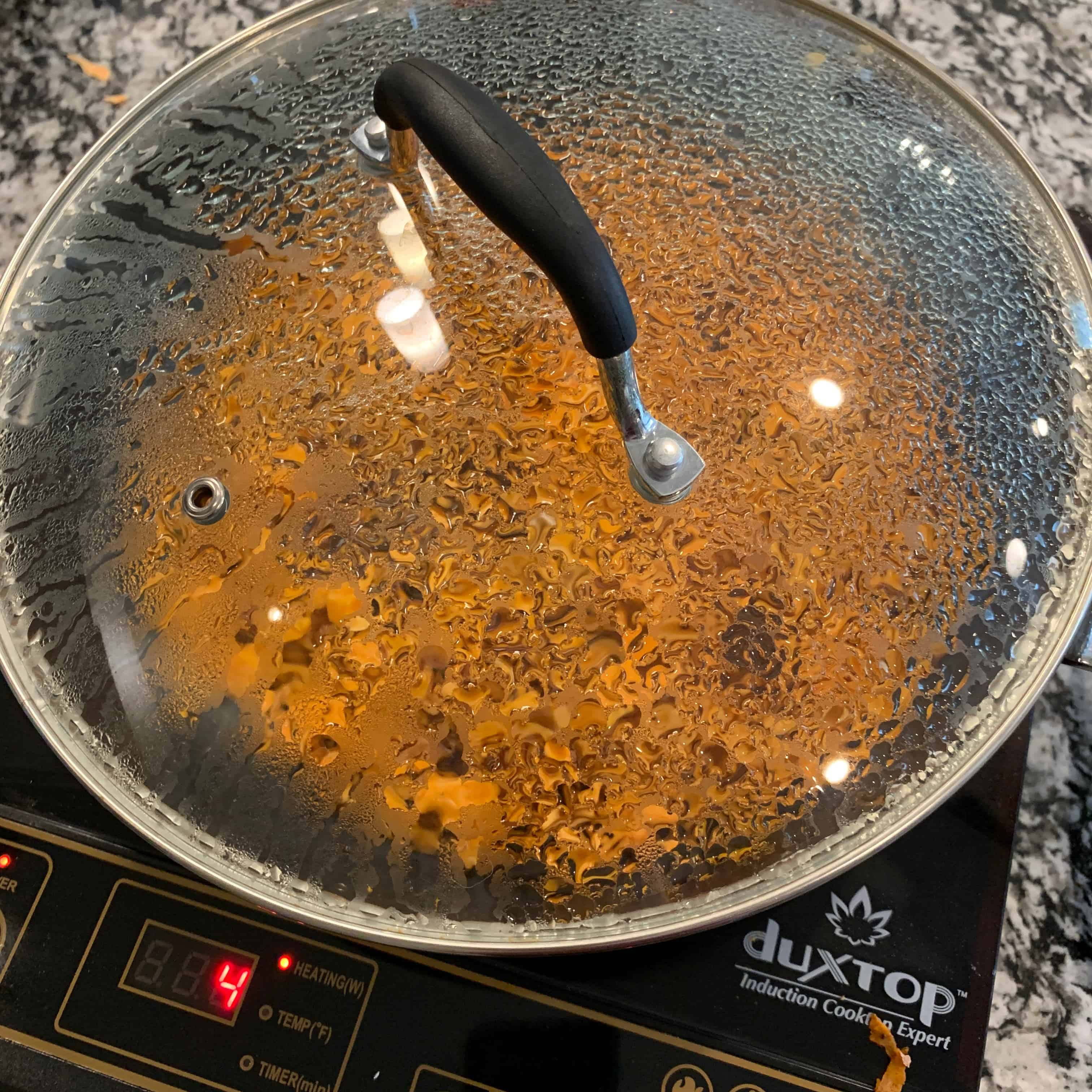covered pan with sweet potato hash browns