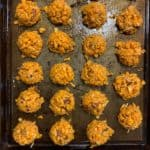sweet potato tots on a baking sheet before baking