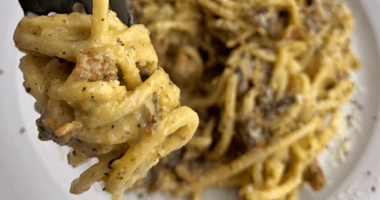 Low Carb Pasta Carbonara with Palmini Pasta