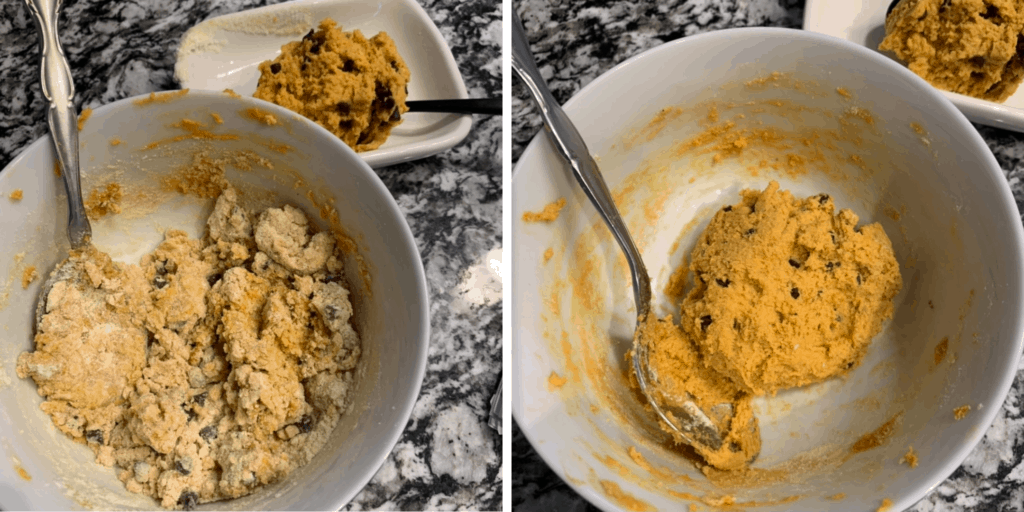 protein cookie dough ingredients before and after mixing in a bowl