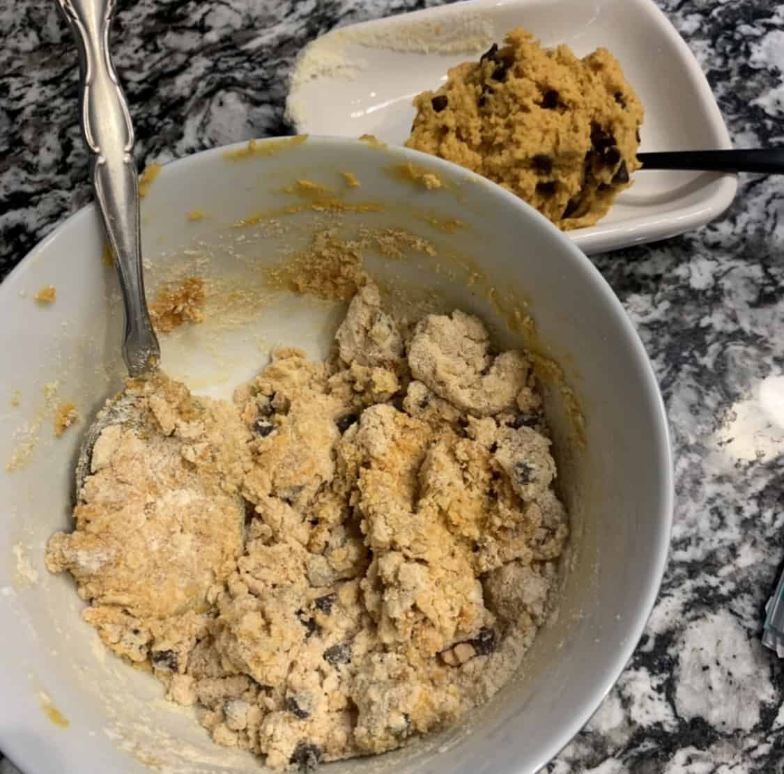 protein cookie dough ingredients in a bowl
